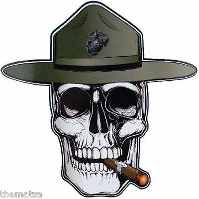 MARINE CORPS USMC DRILL INSTRUCTOR MADE IN USA 5X5  INCH SKULL DECAL - Drill Instructor