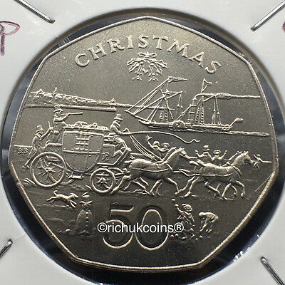 1980 IOM Xmas 50p Coin with BB die marks