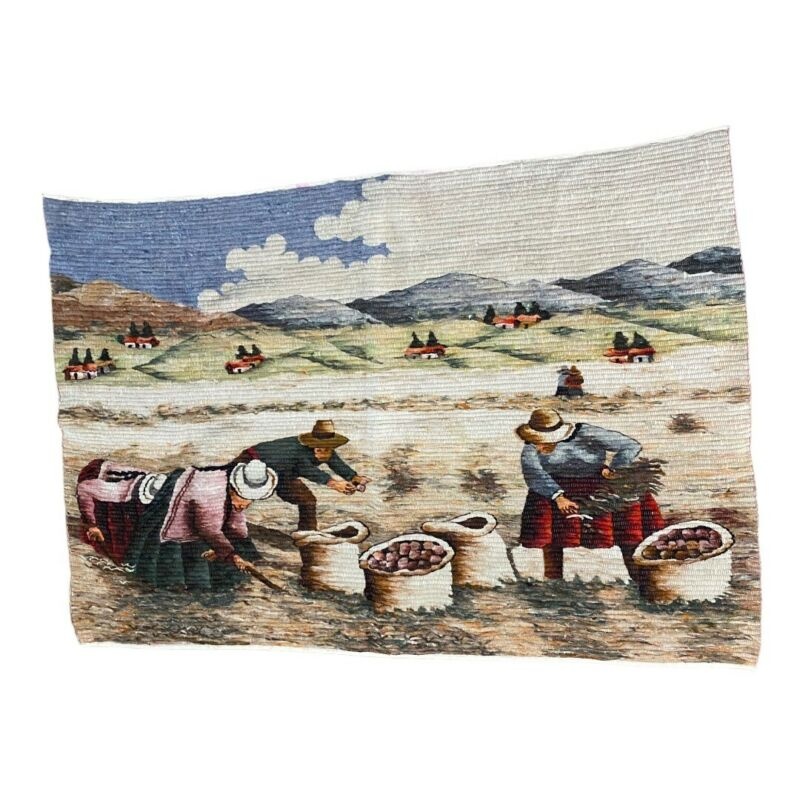 """Peruvian Tapestry Vintage Field Farmers Mountains Wool Hand Woven 66"""" x 45"""""""