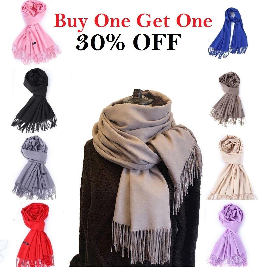 Men Women Winter Warm 100% CASHMERE Scarf Solid Plaid Wool S