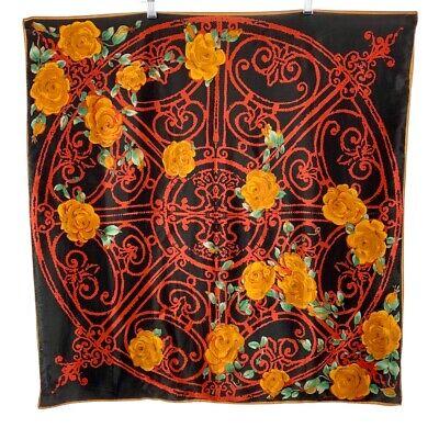 Vintage Scarf Styles -1920s to 1960s Vintage VERA Silk Scarf Black Red Golden Brown Floral JAPAN $17.95 AT vintagedancer.com