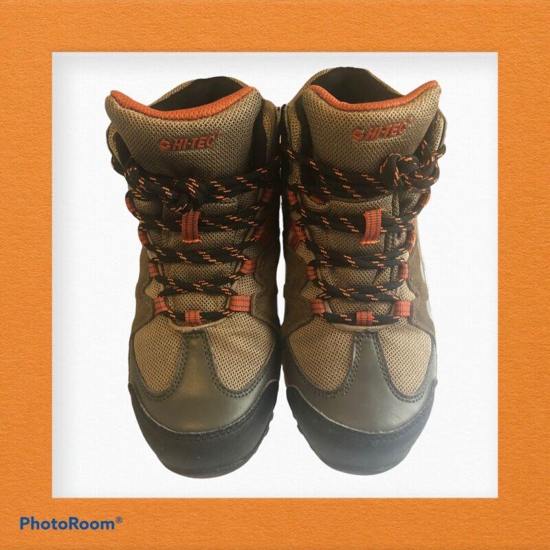 Hiking Boots Hi-Tec Waterproof Kids Size 3.5 Brown/Orange EUC