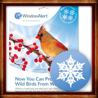 Window Alert  SNOWFLAKE 4 DECALS Protect SAVE Wild Birds PREVENT WINDOW STRIKES