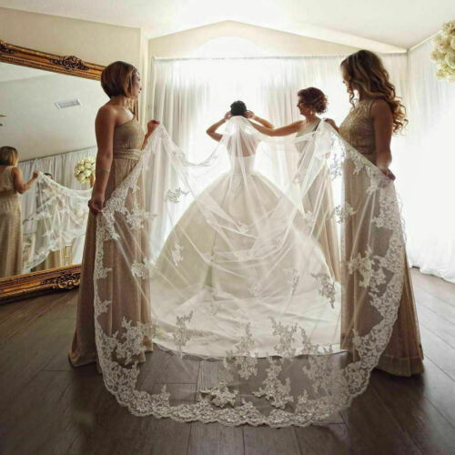 White Wedding Veils with Comb Bridal Veil Cathedral Length Lace Appliques Sequin