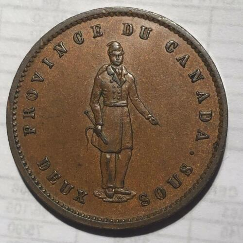 Canada 1852 Quebec Bank Large Penny  (2 Sous)  Super nice AU but some scratches