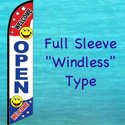 Open Welcome Windless Feather Flag Tall Curved Advertising Flutter Banner Sign