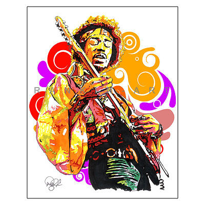 "Jimi Hendrix Guitar Woodstock Purple Haze 11x14"" Music Art Print Poster"