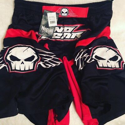 NO FEAR Mens Size 38-40 Embroidered & Screen Printed  Skull Fighting Trunks - No Fear Fight Shorts