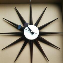 George Nelson Sunburst Wall Clock Dark Brown Reproduct Design from japan