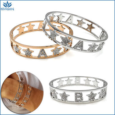 Bracciale da donna braccialetto rigido stella con lettera iniziale in acciaio a