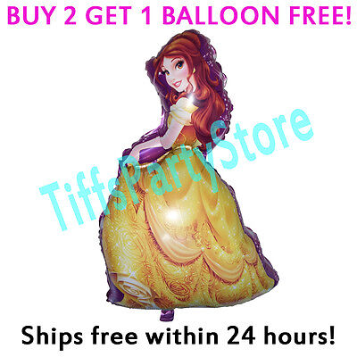Princess Balloon (HUGE 2-Sided Belle Mylar Balloon Birthday Party Disney Beauty & Beast)