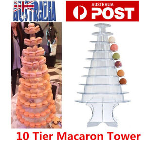10 Tier Round Macaron Tower Acrylic Stand Support Wedding Party Dessert Display
