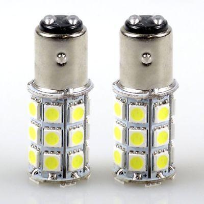 Felji 2 Xenon White BA15D 5050 27 SMD For Boat Marine RV Car LED Light Bulb 1157 - Marine Led Light Bulbs