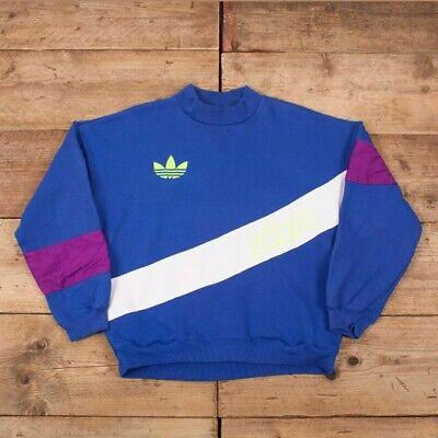 """Mens Vintage 80s Adidas Blue Trefoil Sash Sweatshirt Jumper Large 44"""" R16367"""
