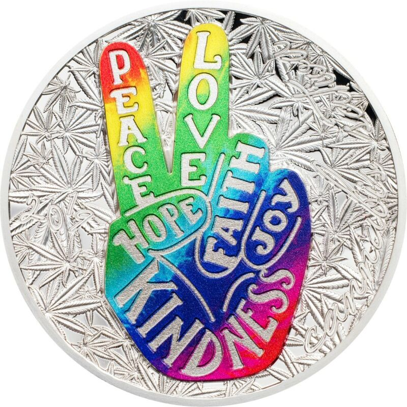 2019 1000 Francs Benin Peace & Love 1 oz. .999 Silver Coin