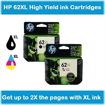 HP 62XL High-Yield Single or Multi-Pack Ink Cartridges (Black or Color) EXP