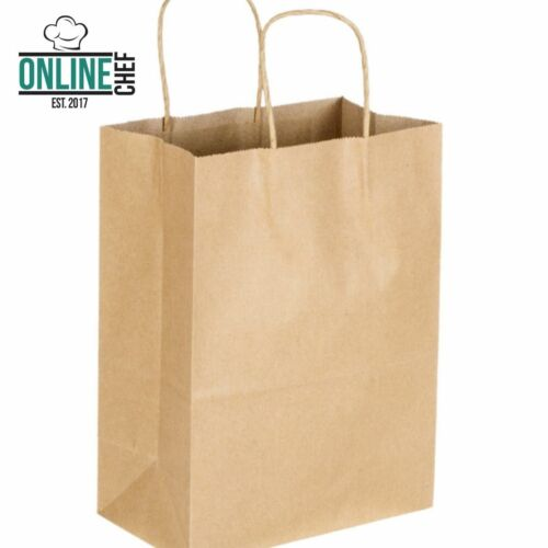 """250 Natural Brown Kraft Paper Shopping Bags with Handle, 8"""" x 4 1/2"""" x 10 5/8"""""""