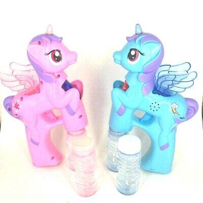 Pony Seifenblasenpistole Bubble Gun LED Lichter und Sound Rosa/Blau 23cm ()