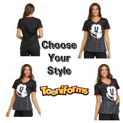 New Women's Cherokee Tooniforms TF686 Mickey Mouse V-neck Print Scrub Tops