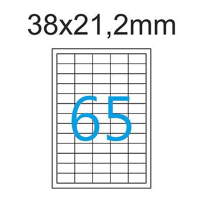 38x21mm Luma Etiketten 200 Blatt DIN A4 13000 Aufkleber weiß  38x21,2 mm