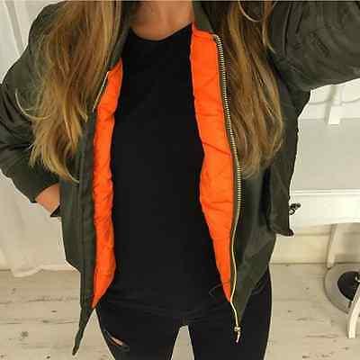 Ladies Girls Womens MA1 Bomber Jacket Classic Style Zip Up Biker Vintage Jacket