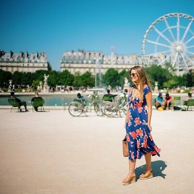 June & Hudson Nordstrom Gal Meets Glam Tie Open Front Midi Rose Dress XS Blue