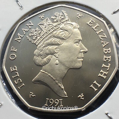 1991 IOM Xmas 50p Diamond Finish Coin with BB die marks
