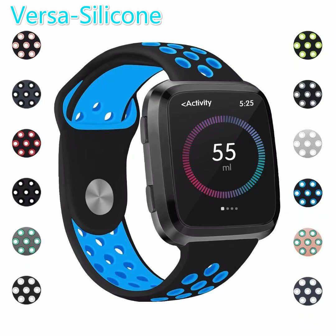 Humenn Bands Compatible for Fitbit Versa Accessory Breathable Sport Bands Air Holes Compatible Fitbit Versa Smartwatch