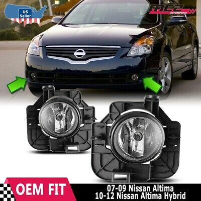 For Nissan Altima 07-09 Factory Replacement Fog Lights + Wiring Kit Clear Lens 09 Factory Replacement