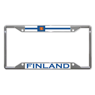 FINLAND FLAG COUNTRY Metal License Plate Frame Tag Holder Four Holes - Flag Frames