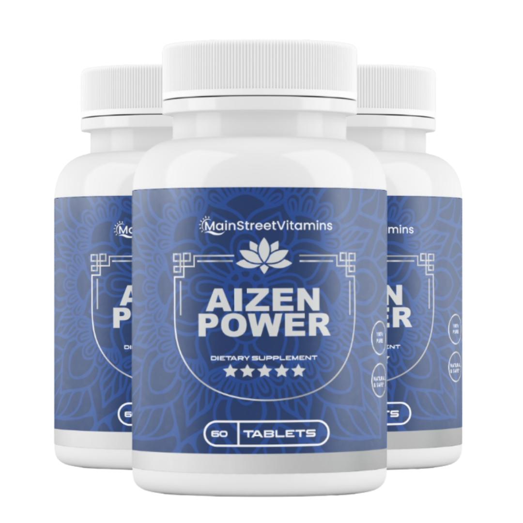 3 Bottles Aizen Power Supplement by Main Street Vitamins 60 Capsules