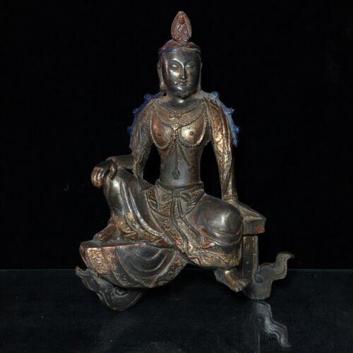 "9/"" Chinese old antique bronze handmade Tathagata Buddha statue"