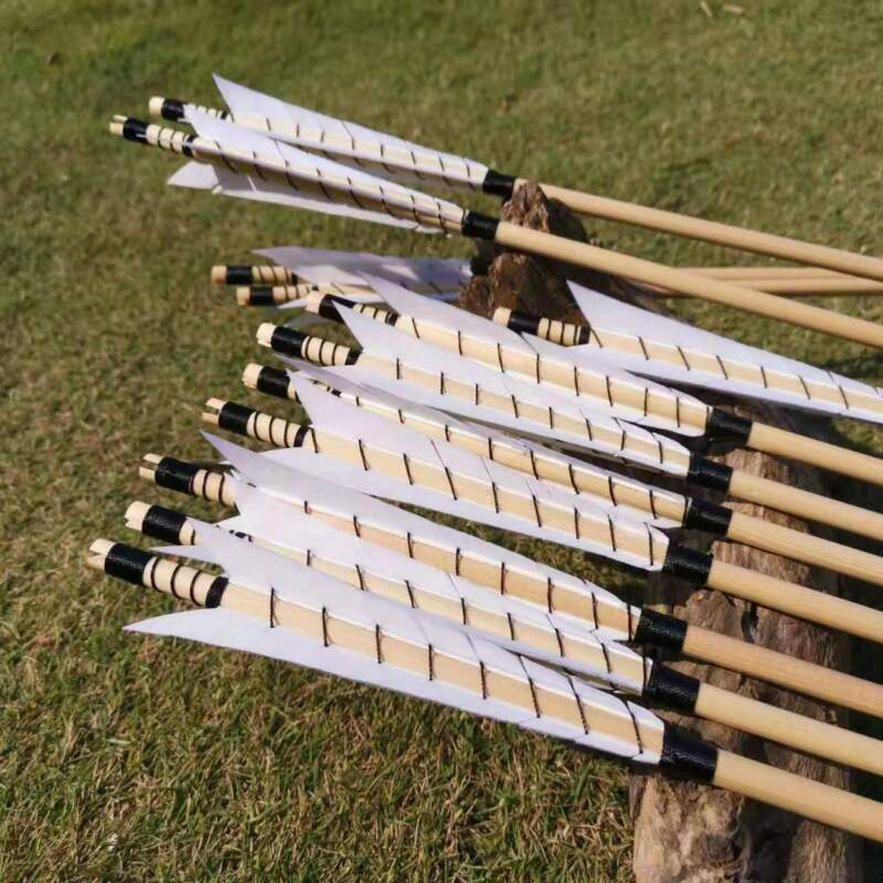 12 PK Traditional Medieval Style Archery Wooden Arrows English Longbow Arrows