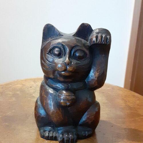 Japanese tradition vintage Beckoning cat Maneki neko Wooden antique Retro @a0412