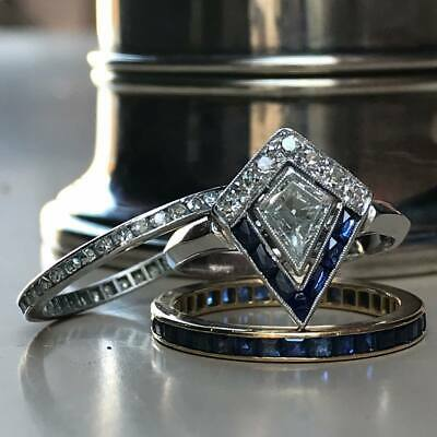 Diamond & Sapphire Wedding Ring - 2Ct Geometric Diamond 14K White Gold Sapphire Bridal Wedding Engagement Ring Set