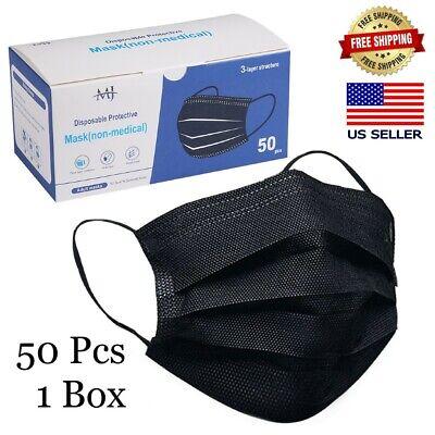 50 PCS Black Face Mask Mouth & Nose Protector Mask Respirator USA STOCK!