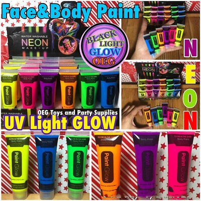 Glow in the Dark UV activated water washable NEON body paint 6 colors 24 pieces](Glow In The Dark Washable Paint)