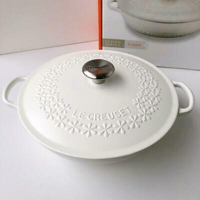 [Rare] Le Creuset Marmit 28 Flower Relief Cotton