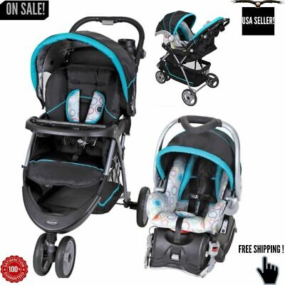 Car Seat and Stroller Combo Set Baby Infant Kid Newborn Travel System Blue