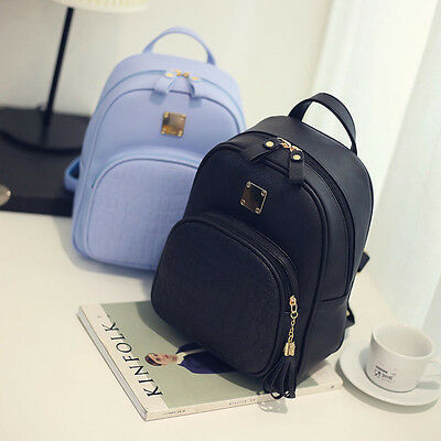 Girls Women's Fashion Leather Travel Shoulder Backpack School Rucksack Bags