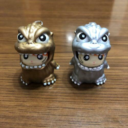 Godzilla Hamtaro collaboration key chain Gold and silver set