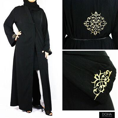 Black Gold Floral Design Open Abaya Kimono Jilbab Maxi Dress