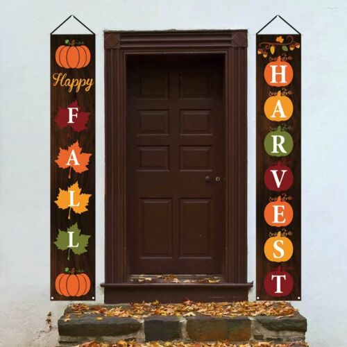 Happy Fall Porch Sign - Fall Decorations Outdoor Indoor - Happy Fall Harvest Ban