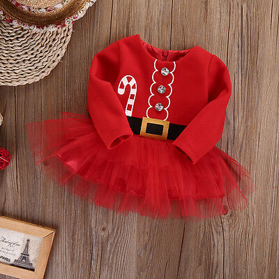 Newborn Baby Girl Long Sleeve Christmas Santa Claus Tulle Dress Outfits Costume