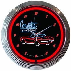 Corvette C2 Stingray Neon Clock Cars Gameroom Basement Mancave Wall Art Decor