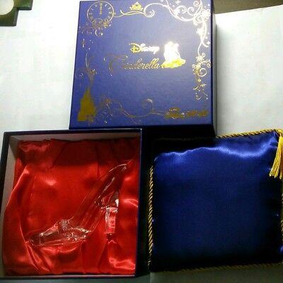 Disney Cinderella Acrylic Glass Slipper Blue Cushion Set Clear Plastic Japan F/S - Plastic Glass Slippers