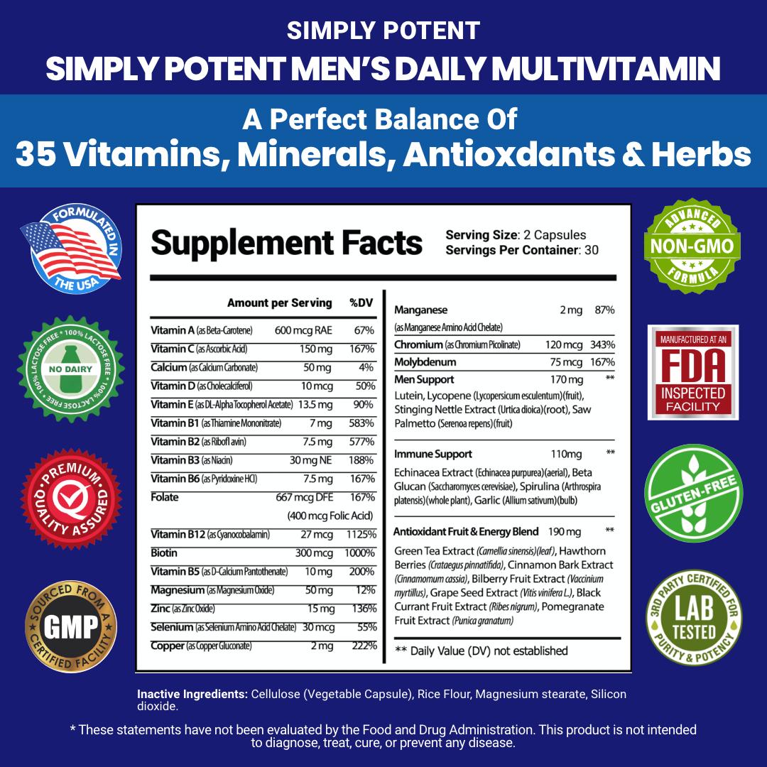 Men's Daily Multi vitamin A B C D E for Energy Focus Metabolism Immune Prostate  2