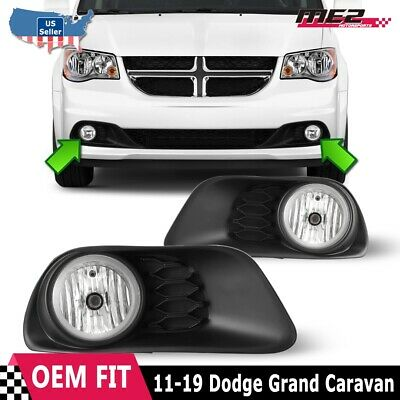 Fits 11-19 Dodge Grand Caravan Clear Lens PAIR Fog Light Lamps+Wiring+Switch DOT