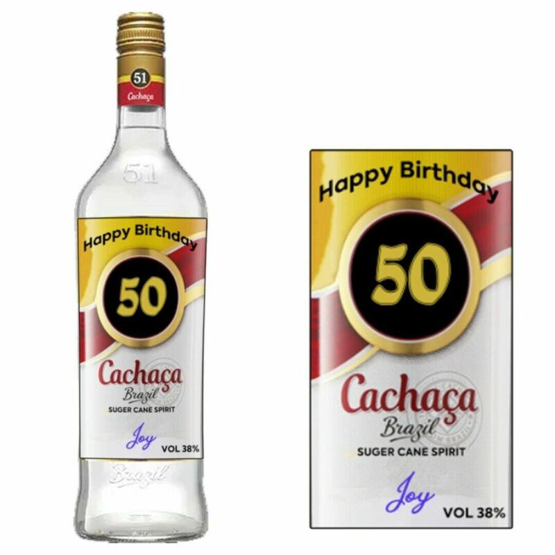 Personalised Cachaca Rum Bottle label for Birthday Christmas Xmas any occasion