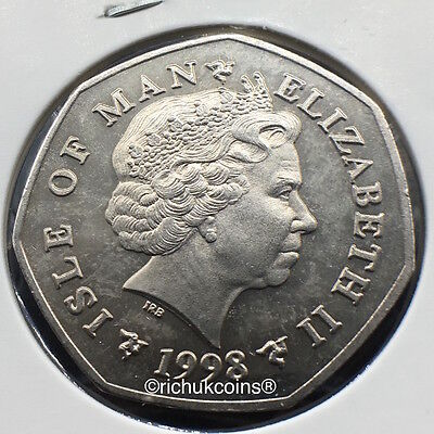 1998 T.T. Commemorative Diamond Finish 50p Coin Rev. & Obv.